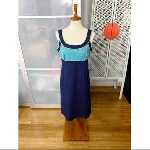 Boden Colorblock Summer Sheath Dress in Blue